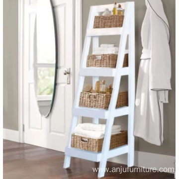 White Bathroom Storage Unit Wooden Shelves Ladder Bookshelf Cabinet Modern Stand